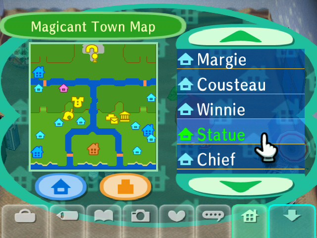 A hacked town map, showing the players' custom made town. Check out that island!
